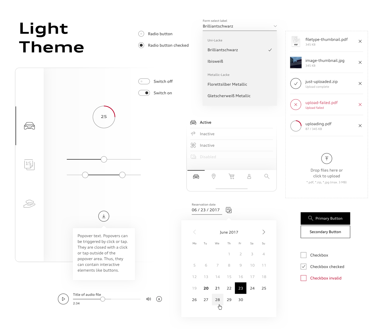 Audi interface components in light theme.
