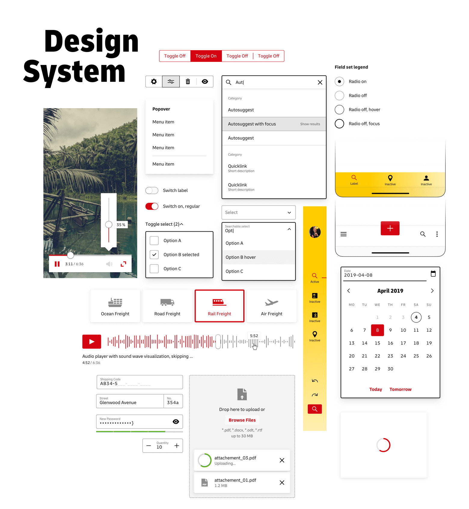Design System — a collage of many different interface components